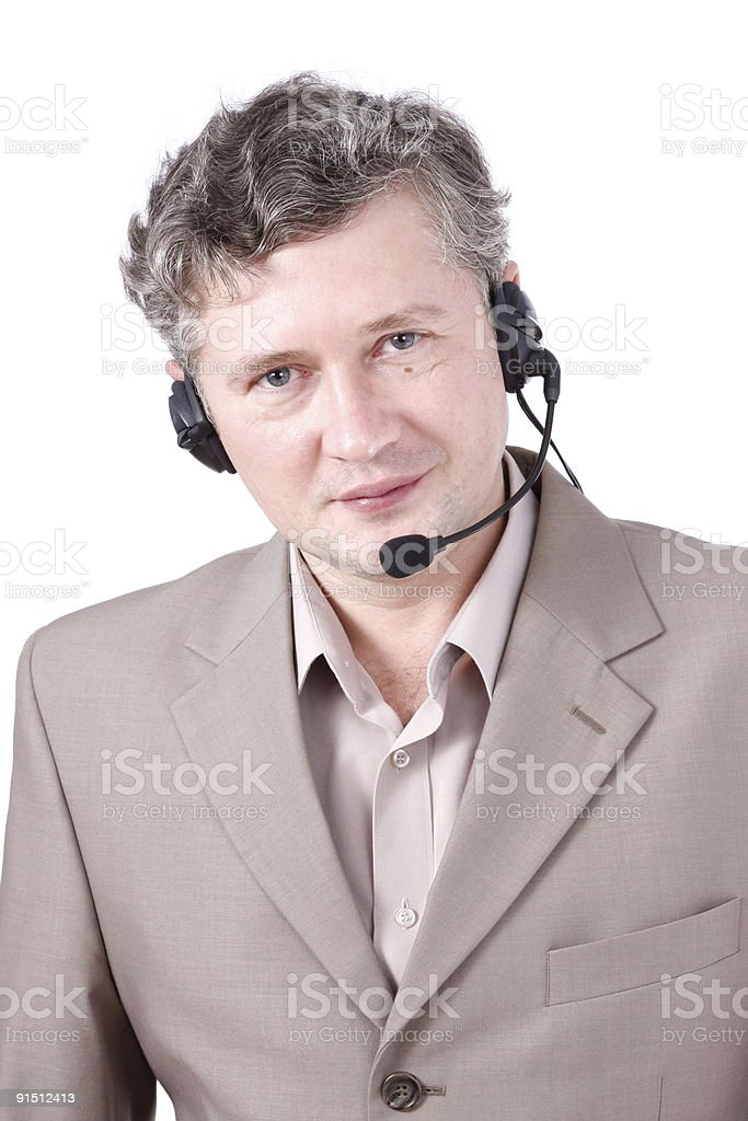Customer representative wearing headset. Friendly negotiator. royalty-free stock photo