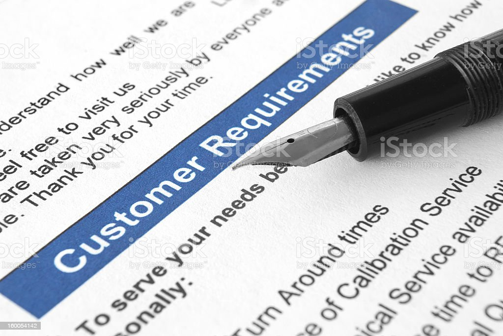 Customer requirements royalty-free stock photo