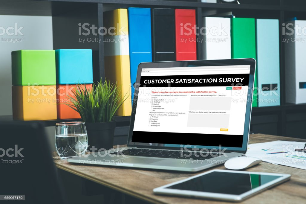 Customer Satisfaction Concept on Laptop Screen stock photo