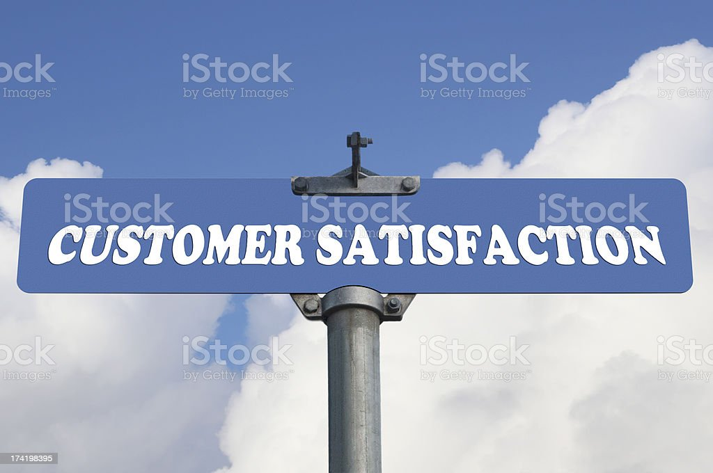 Customer satisfaction road sign royalty-free stock photo