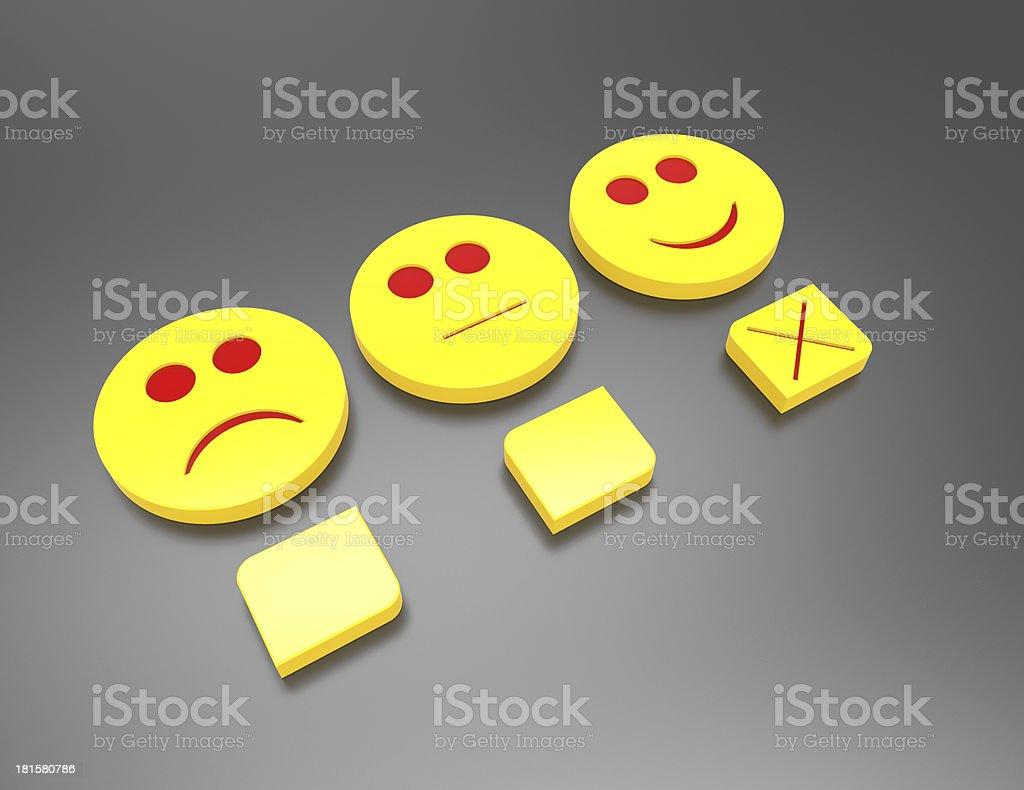 customer satisfaction survey concept with smilie and button stock photo