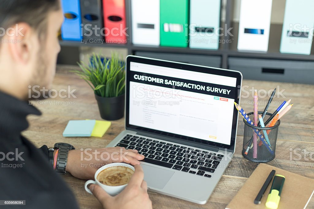 Customer Satisfaction Survey Screen stock photo