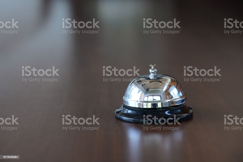 Customer service bell , reception bell in hotel lobby stock photo