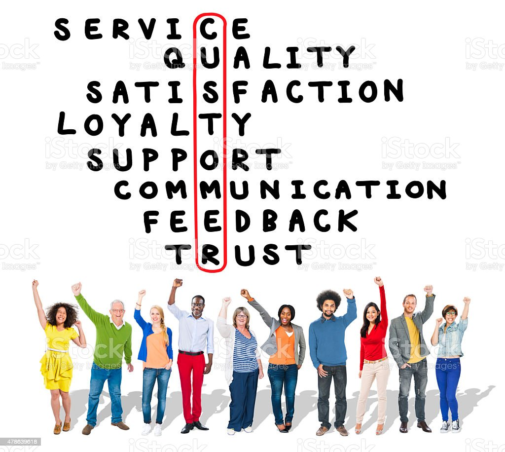 Customer Service Quality Satisfaction Crossword Puzzle Concept stock photo