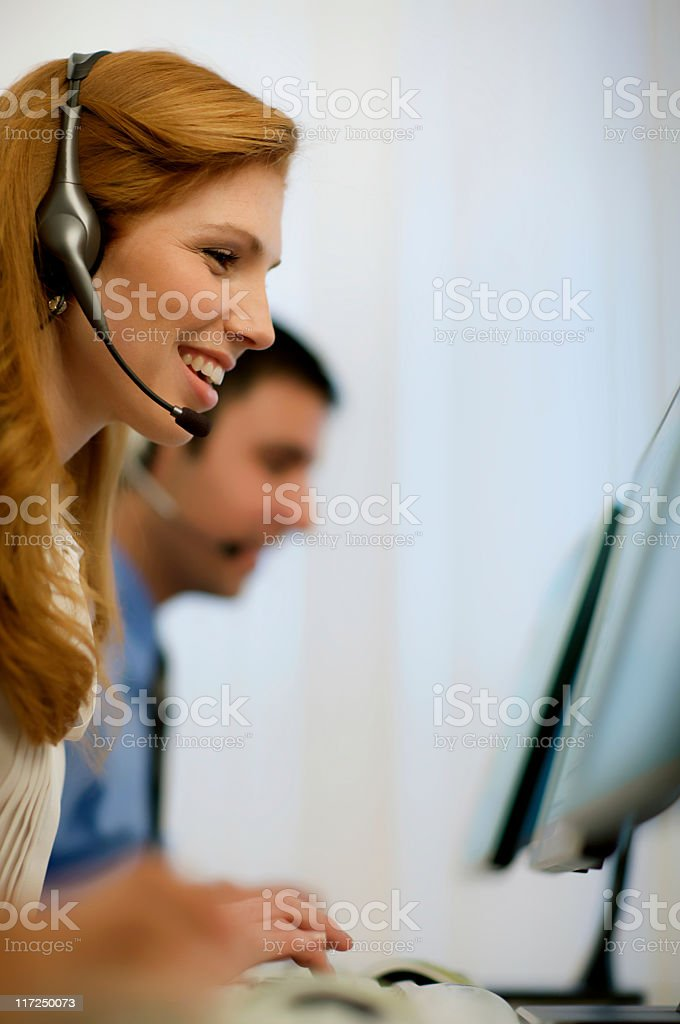 Customer Service Rep With Headset royalty-free stock photo