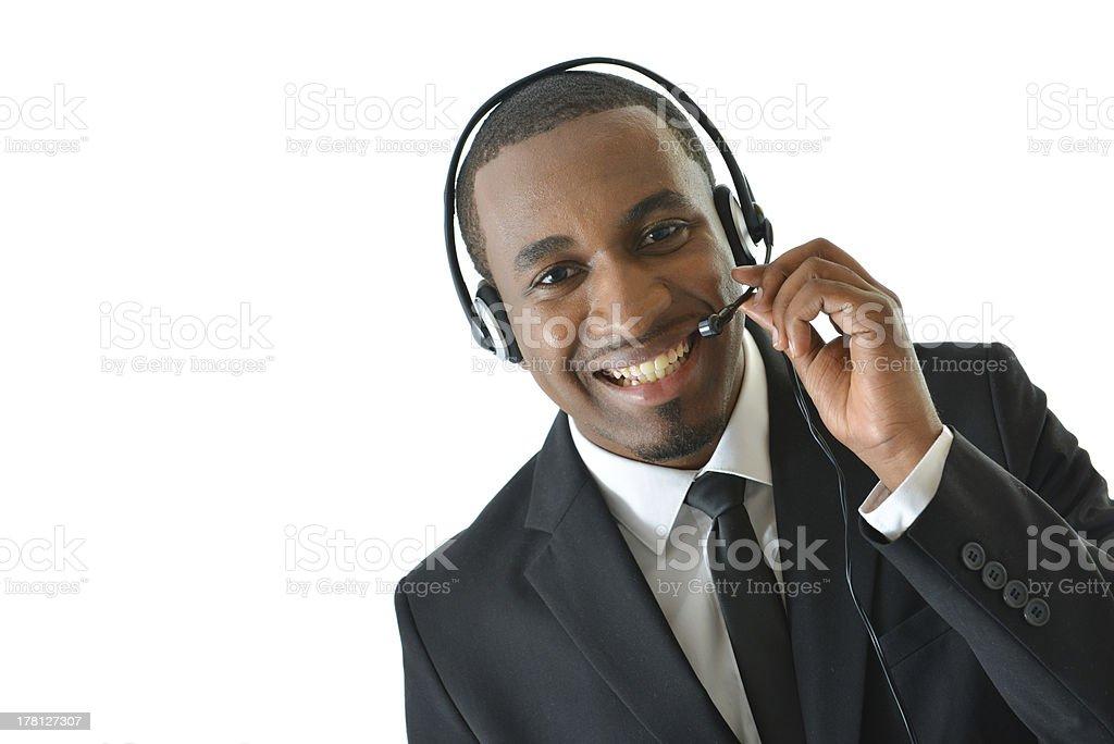 Customer Service Representative Holding Mic royalty-free stock photo