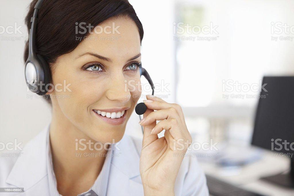 Customer service representative in a conversation royalty-free stock photo