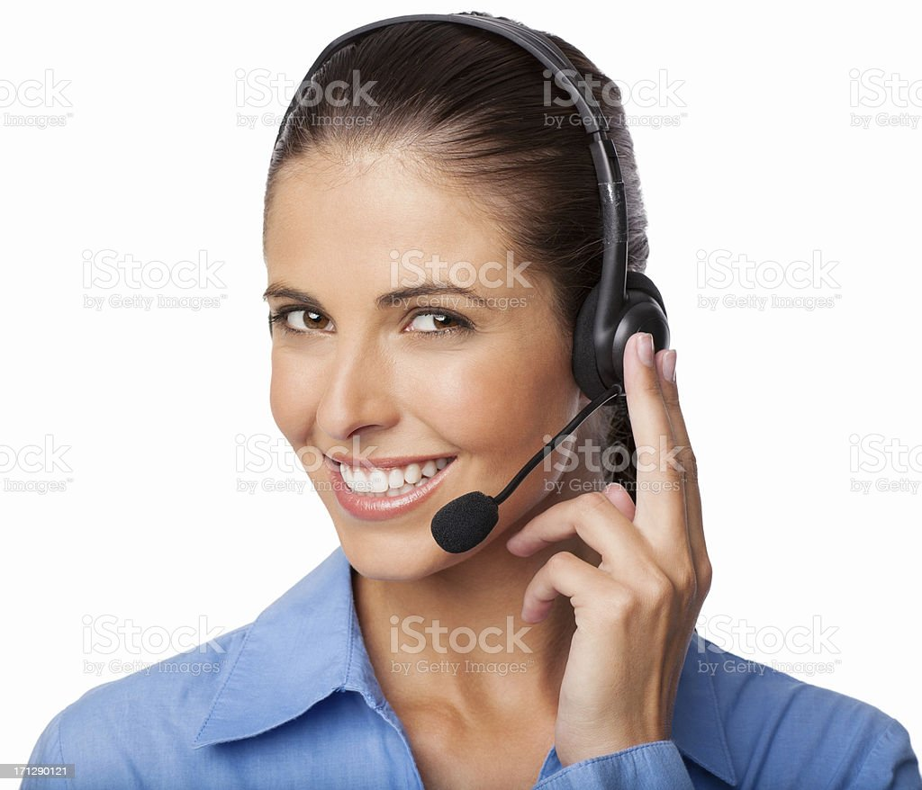 Customer Service Representative Wearing A Headset - Isolated royalty-free stock photo