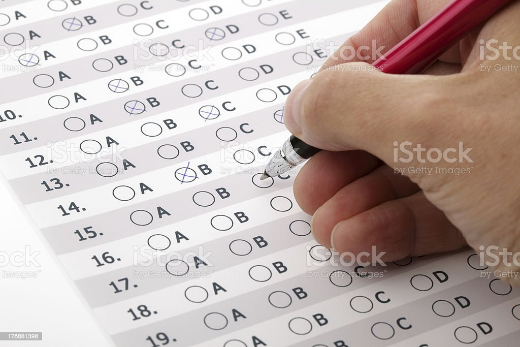 Customer service satisfaction survey or exam multiple choice stock photo