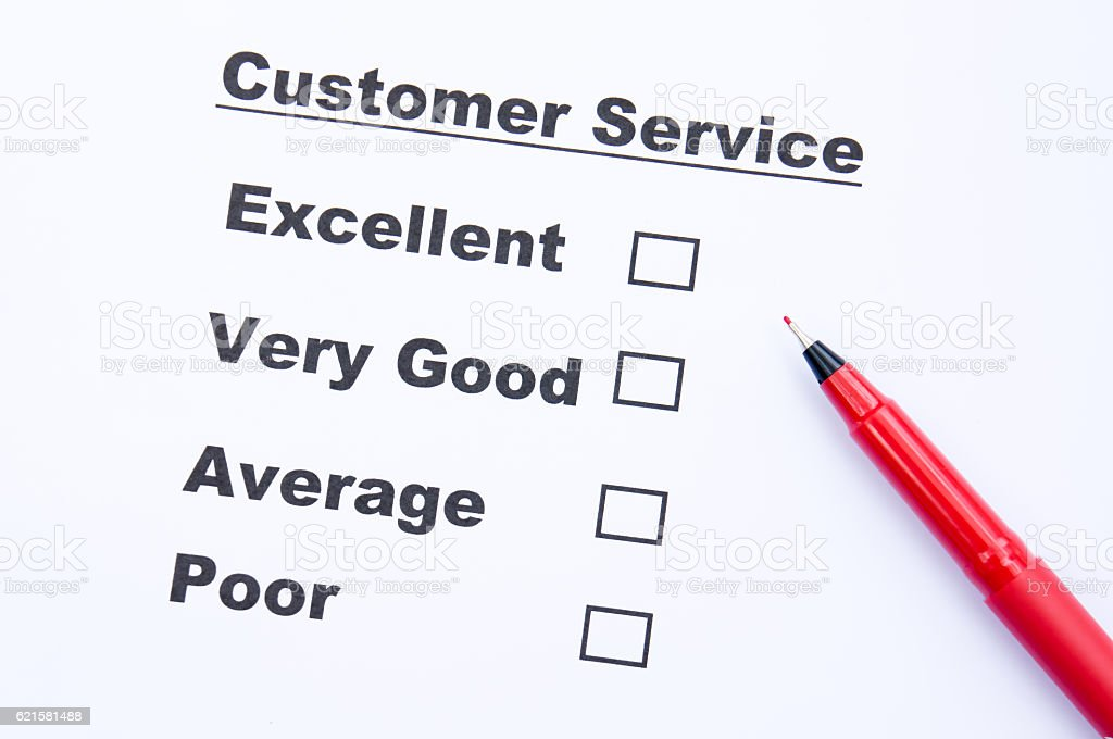 Customer service survey form stock photo