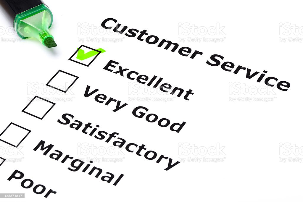 A customer service survey with the excellent box checked royalty-free stock photo