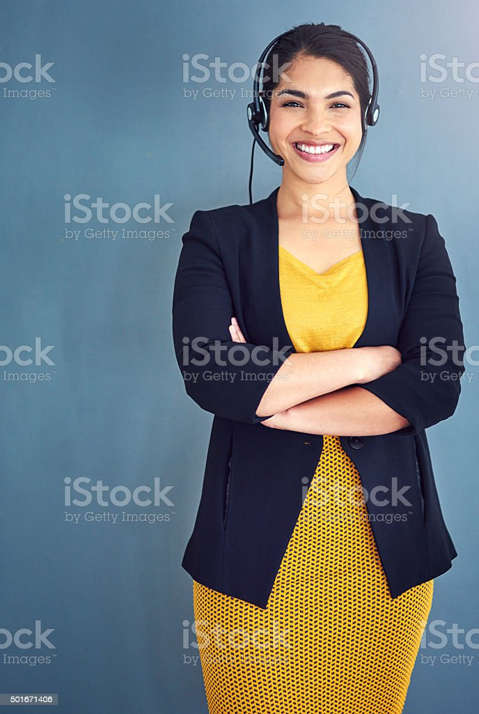 Customer service with a smile stock photo