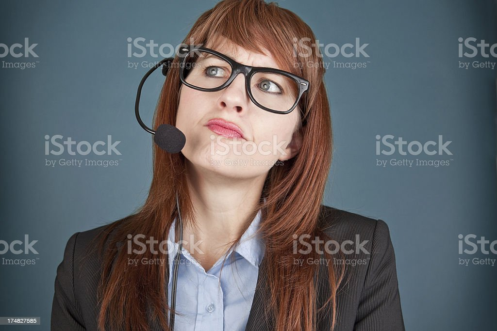 Customer Service Woman Thinking royalty-free stock photo