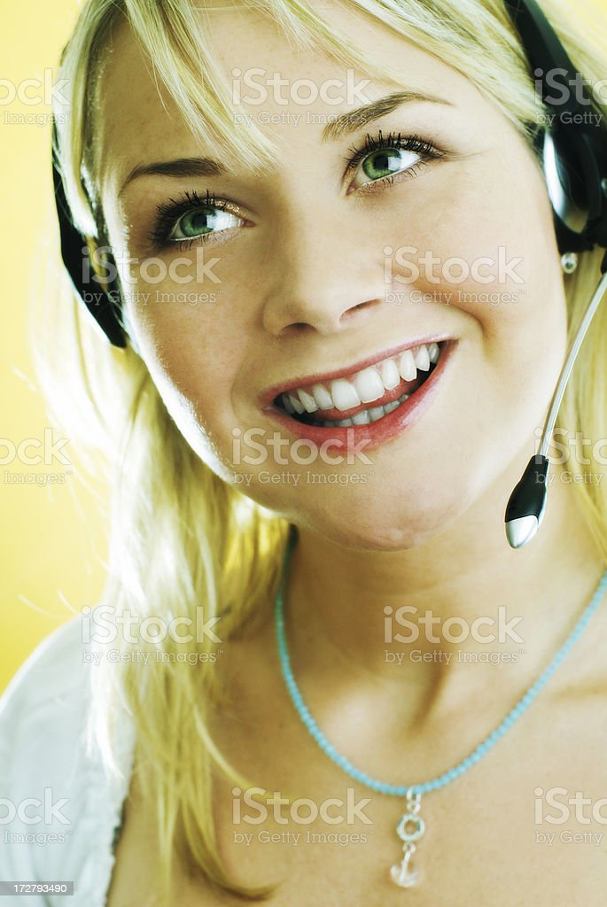 customer service-woman with headset royalty-free stock photo