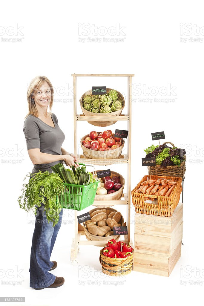 Customer Shopper in Grocery Store with Basket on White Background royalty-free stock photo