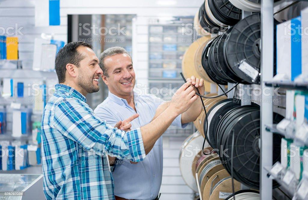 Customer shopping at a hardware store stock photo