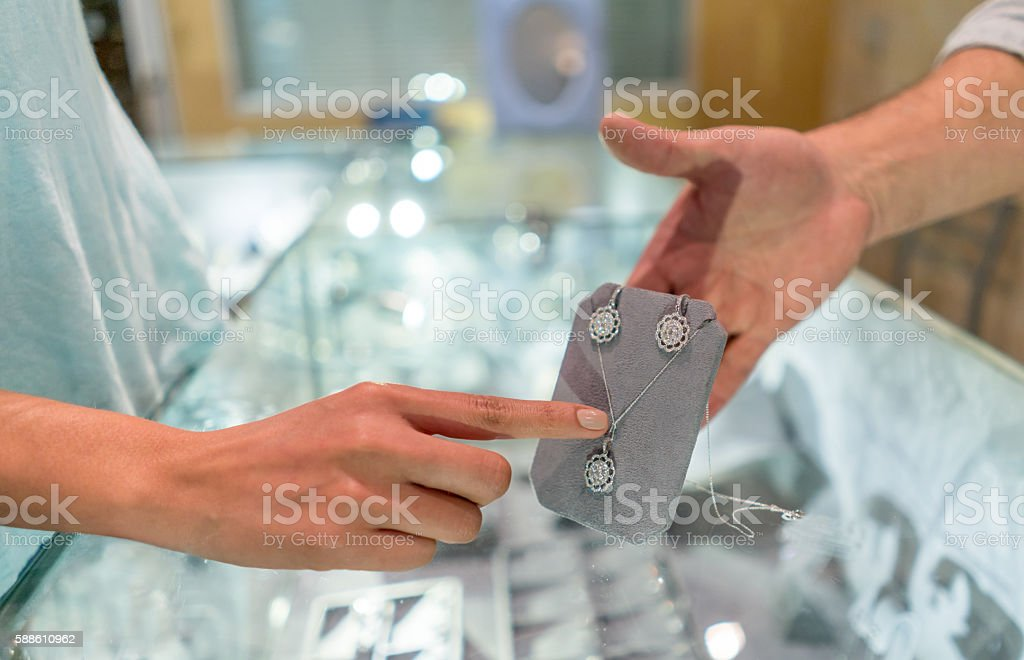 Customer shopping at a jewelry store stock photo