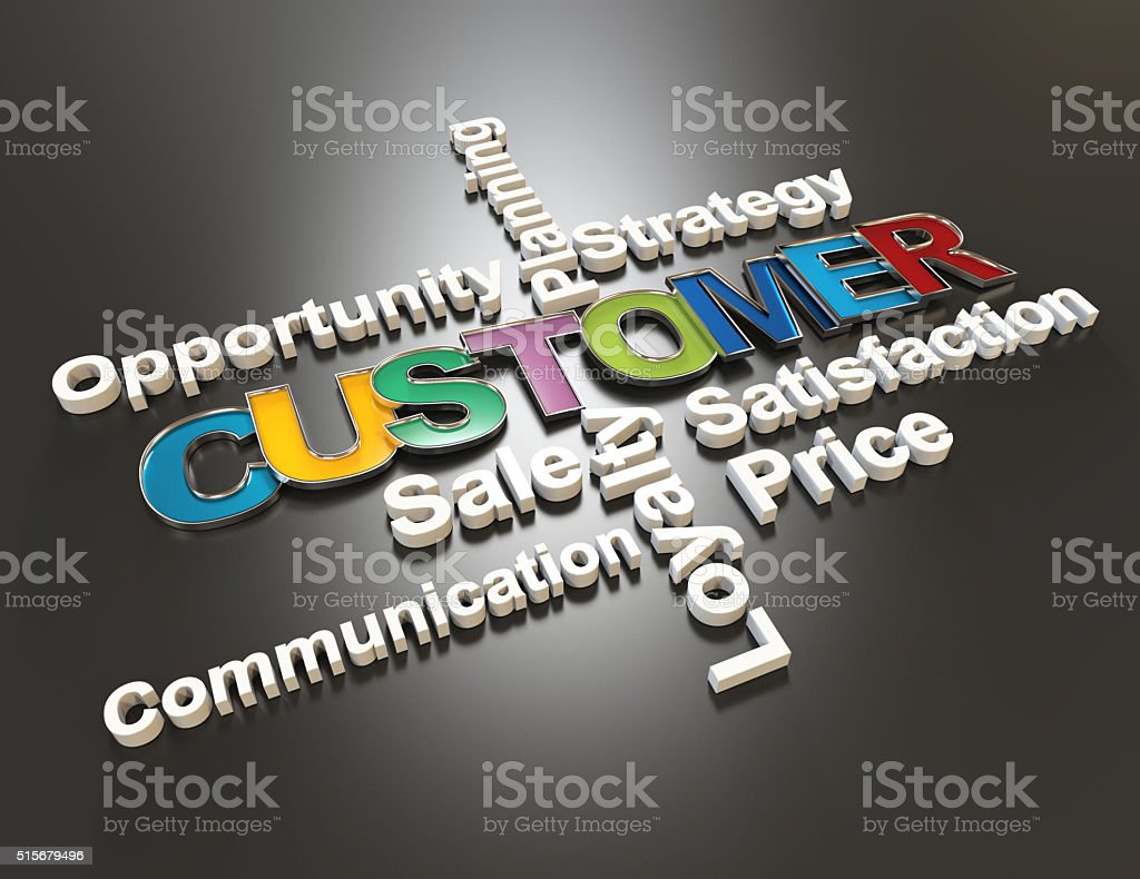 Customer , Strategy,satisfaction,price 3d word concept stock photo