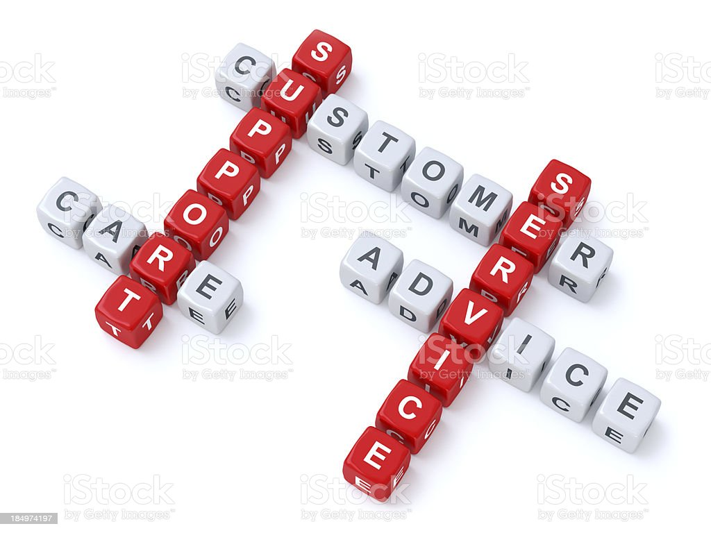 Customer support crosswords stock photo