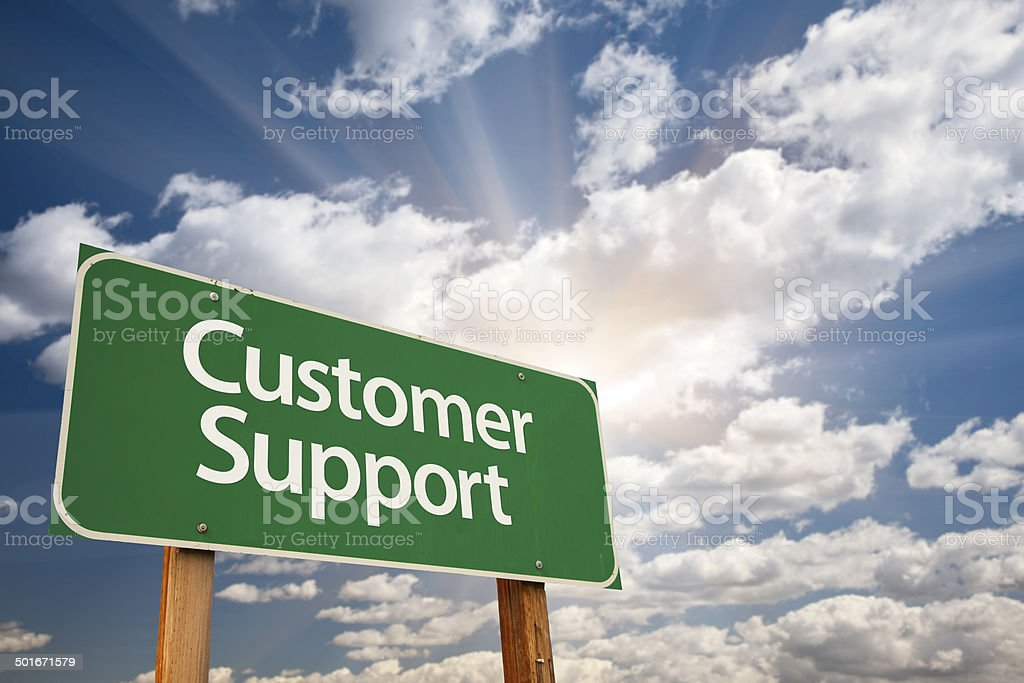 Customer Support Green Road Sign stock photo
