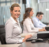 Customer support operators at a call center