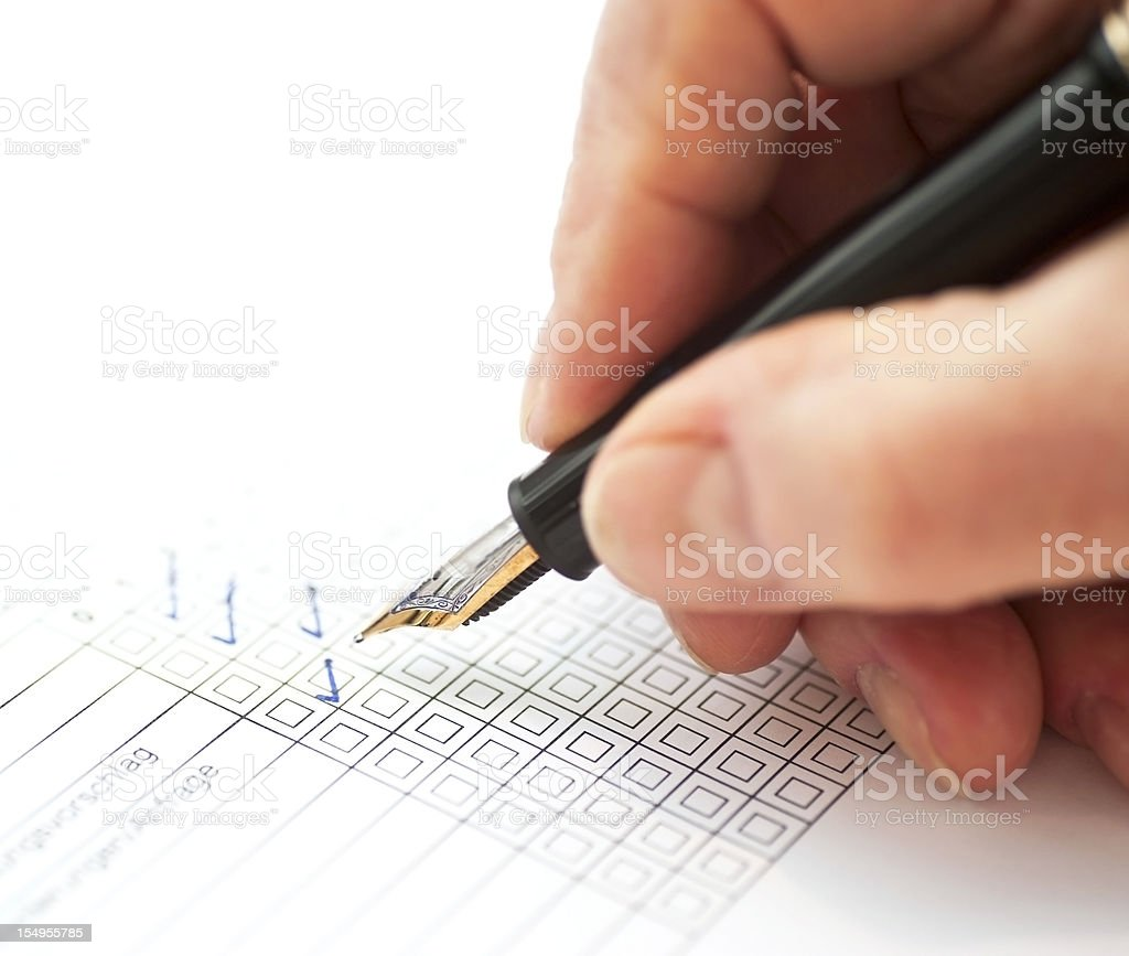 customer survey with hand stock photo
