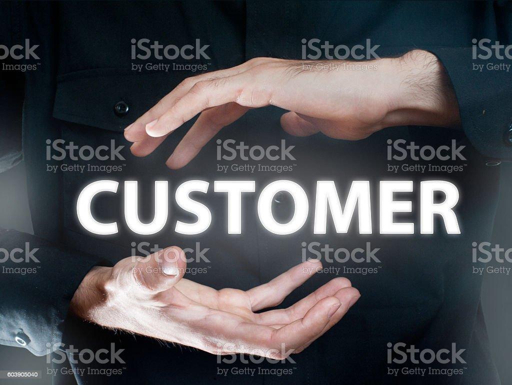 Customer / Touch screen futuristic Concept (Click for more) stock photo