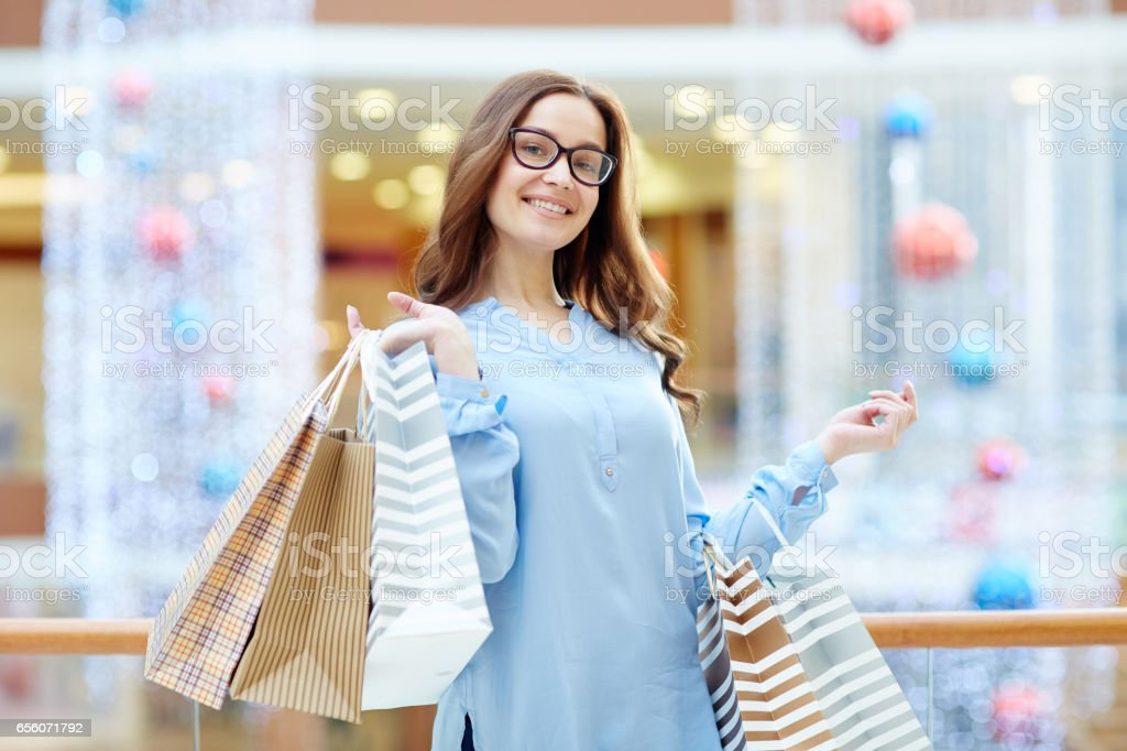 Customer with bags stock photo