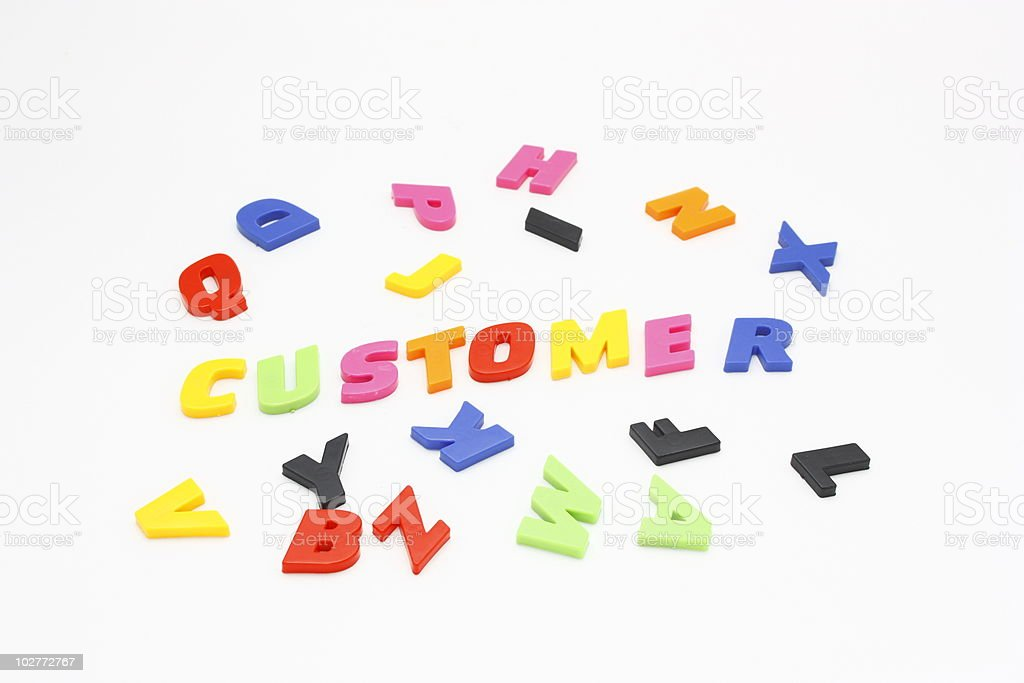 Customer  with Colorful Alphabet royalty-free stock photo