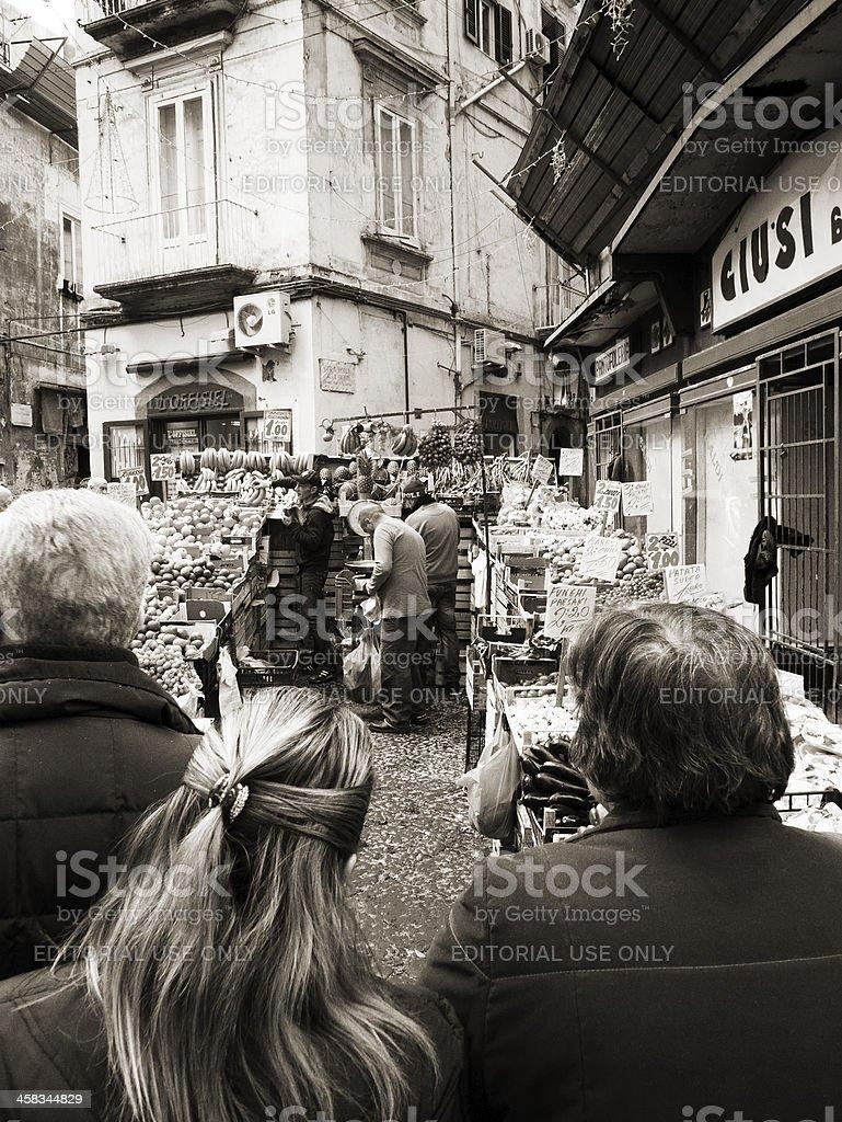 Customers at the street market royalty-free stock photo