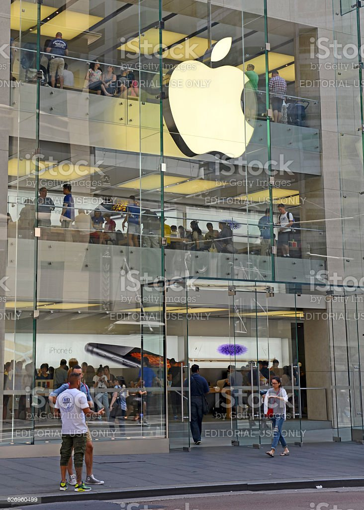 Customers in Apple Store, Sydney Australia stock photo