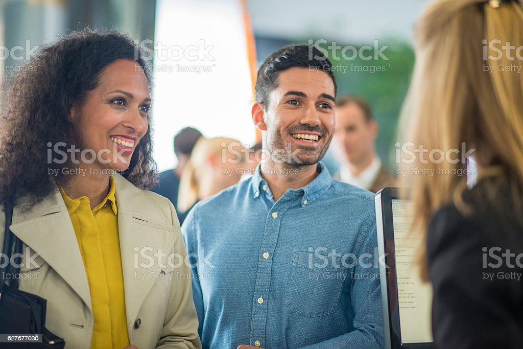 Customers in bank stock photo