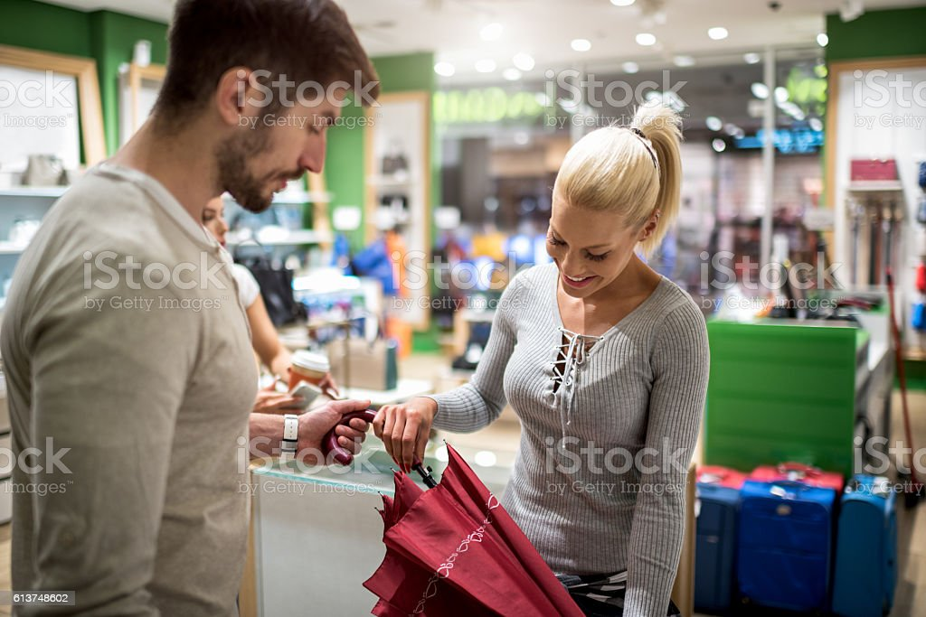Customers inside accessory store stock photo