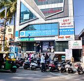 Customers outside SBI bank branch, Bangalore, India
