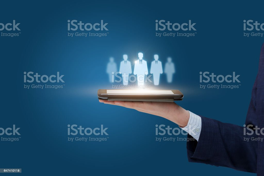 Customers target on the mobile tablet. stock photo
