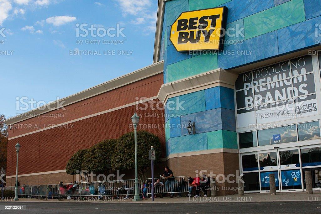 Customers Wait Outside Best Buy For Black Friday Shopping stock photo