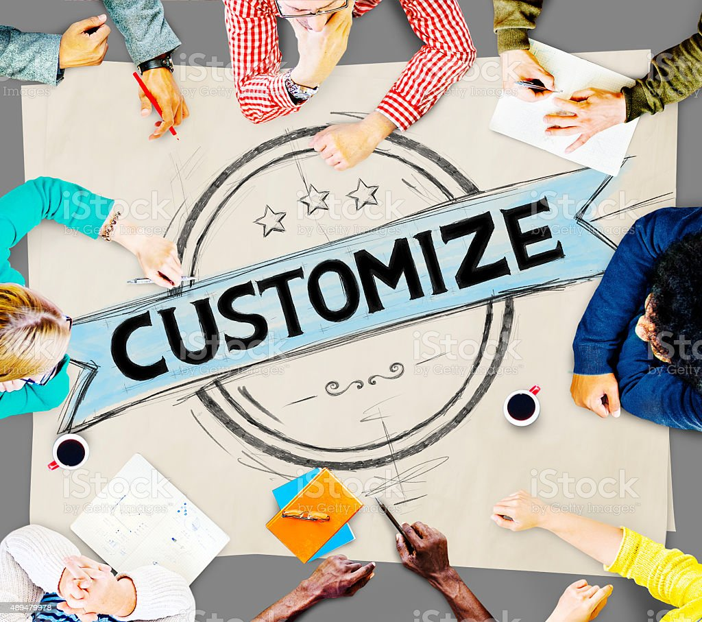 Customize Adjust Personalise Banner Badge Concept stock photo