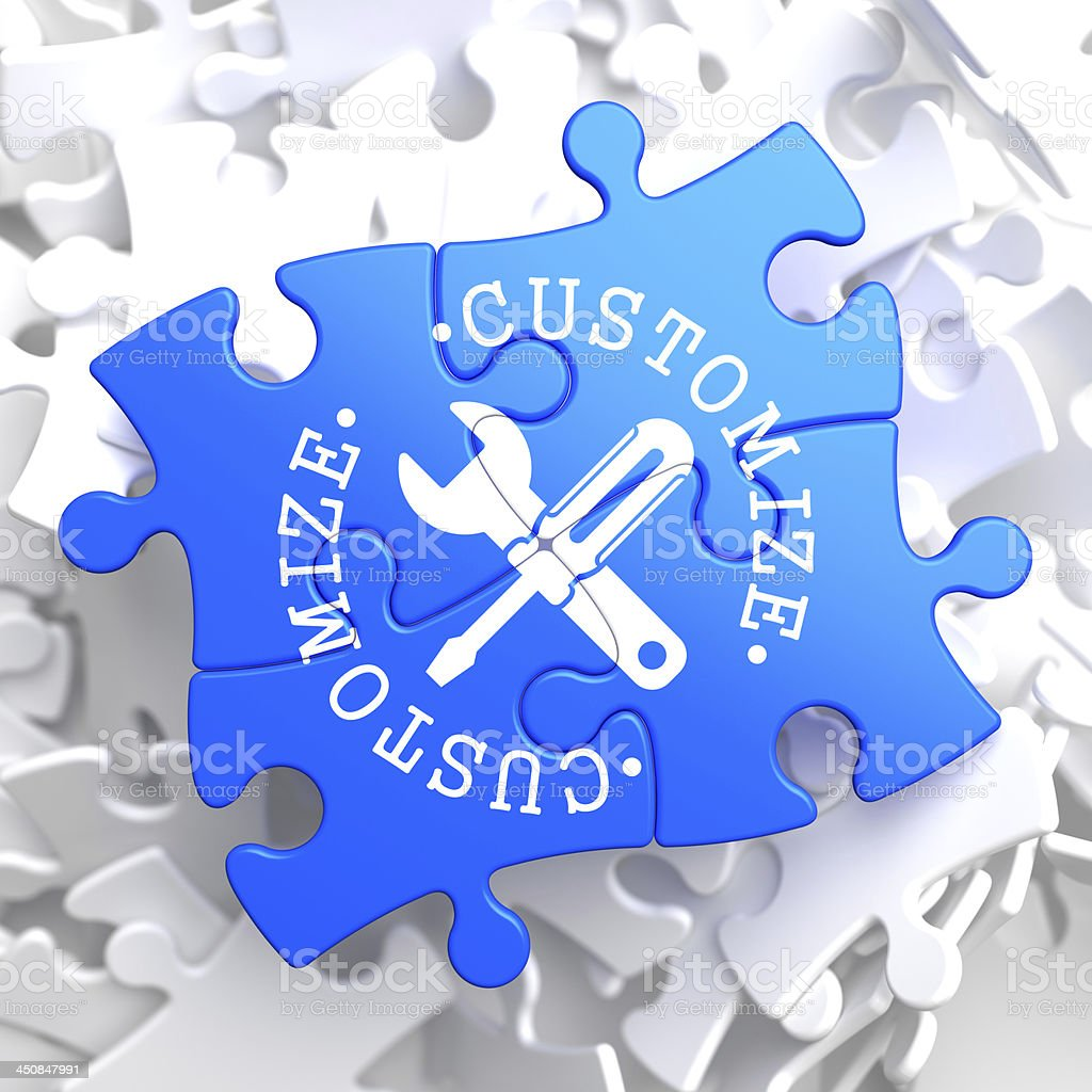 Customize Concept on Blue Puzzle. stock photo