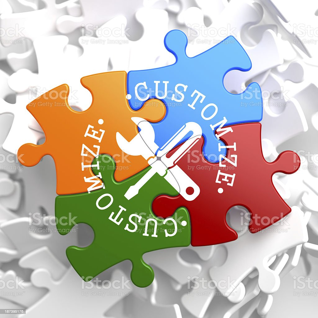 Customize Concept on Multicolor Puzzle. stock photo