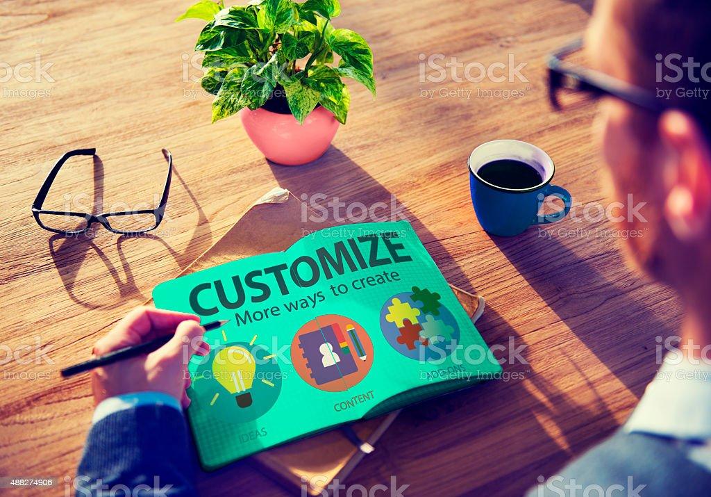 Customize Ideas Identity Individuality Innovation Personalize Co stock photo