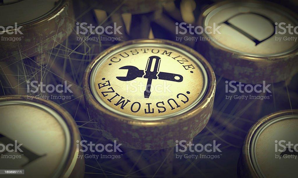 Customize Key on Grunge Typewriter. stock photo