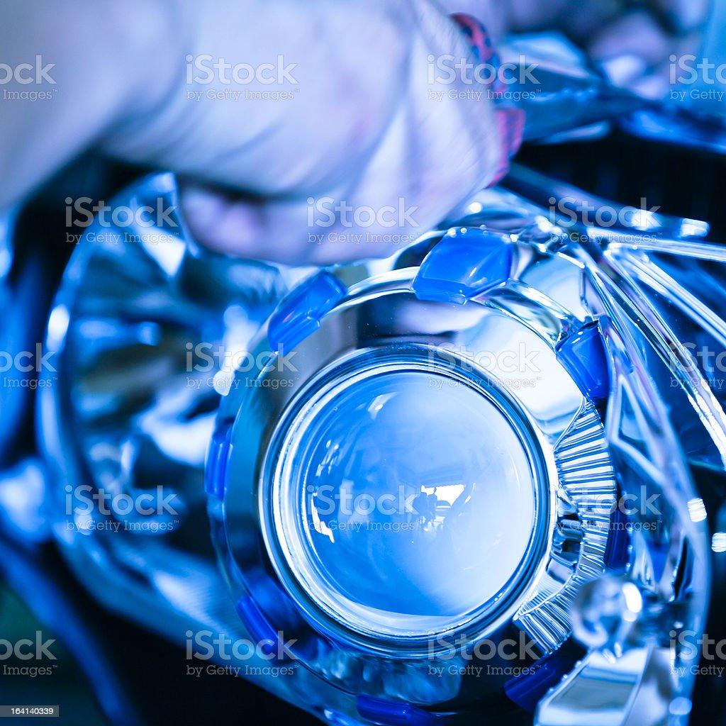 Customized car headlight royalty-free stock photo