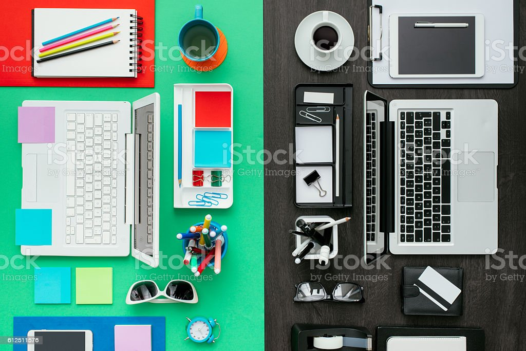 Customized office workspace stock photo