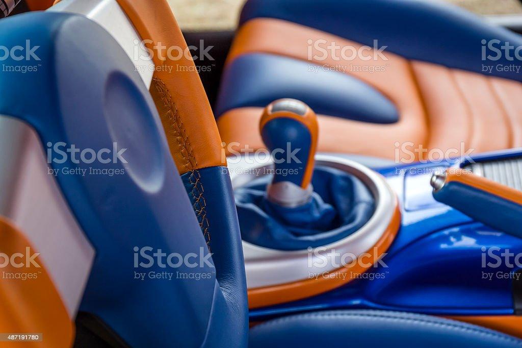 Customized sport car interior stock photo