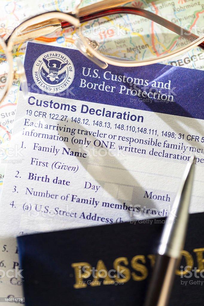 US Customs Declaration royalty-free stock photo