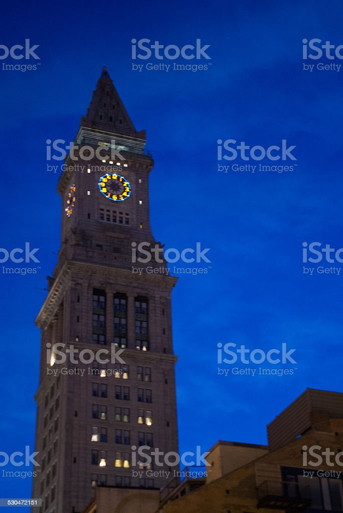 Customs House Tower at dusk stock photo