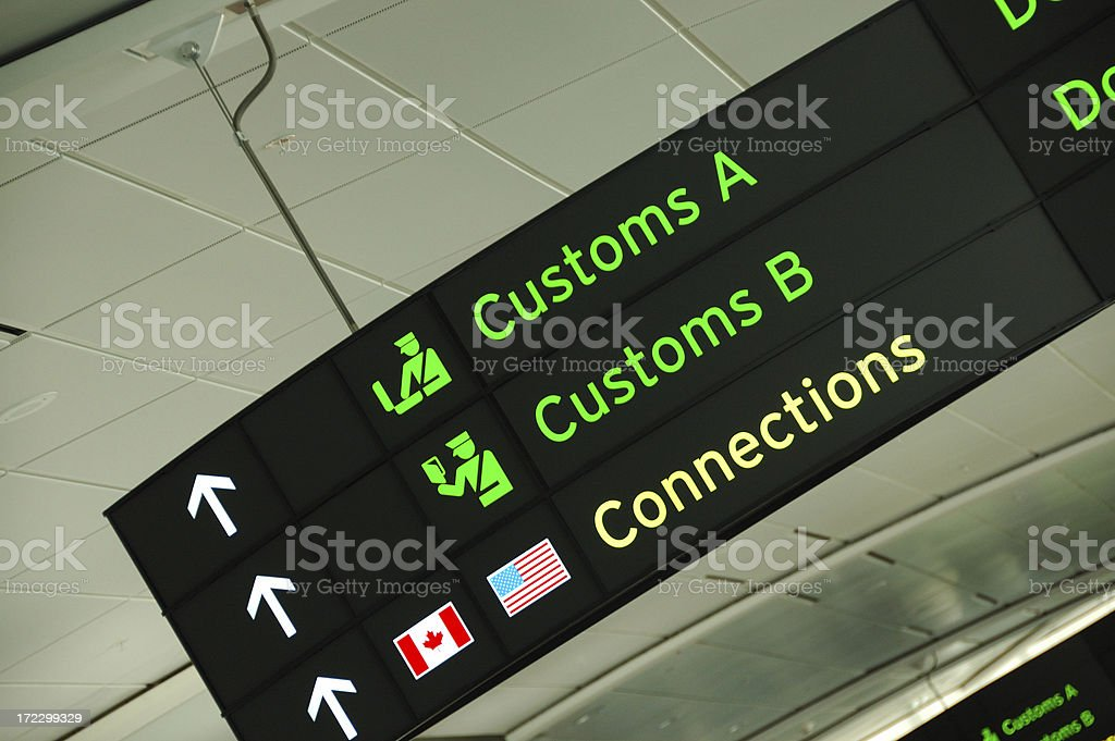 Customs sign at an airport stock photo