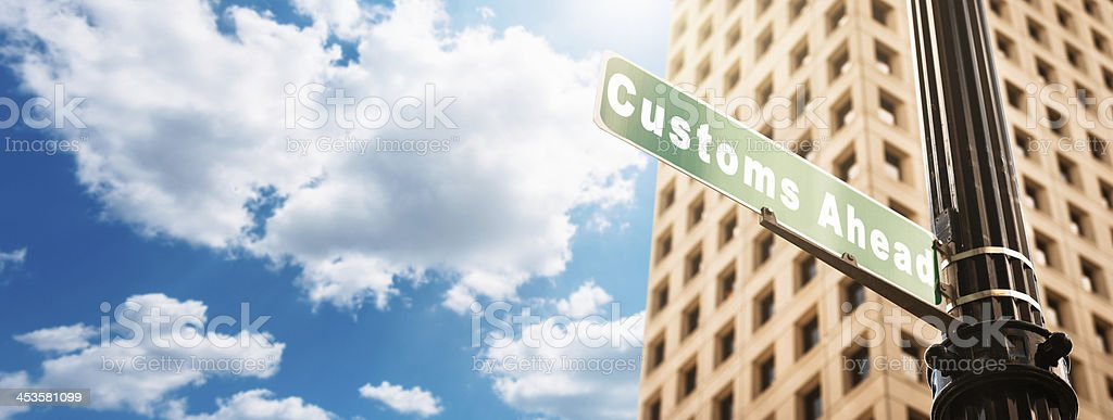 Customs street sign royalty-free stock photo