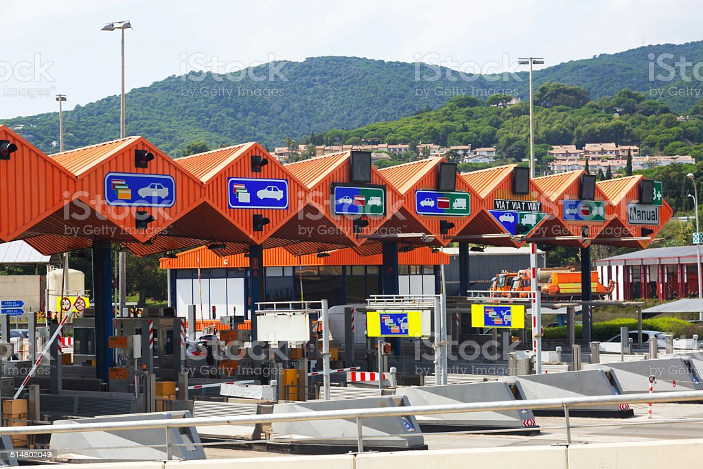 Customs toll road in Catalonia stock photo