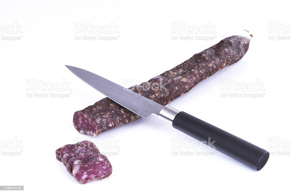 Cut a sapnish sausage royalty-free stock photo